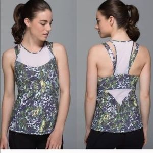 NWT LULULEMON RUNNING IN THE CITY FLORAL TANK BRA